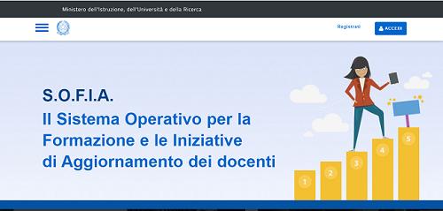 pagina web della piattaforma SOFIA